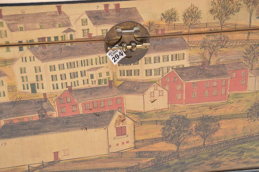 "Colonial painted motif box, 17""h x 20""w x 15 1/2""d - 3"