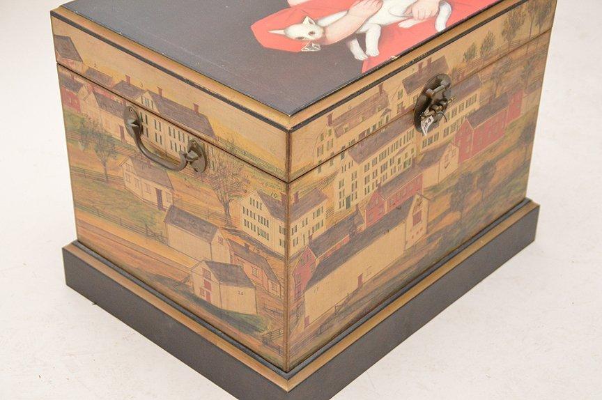 "Colonial painted motif box, 17""h x 20""w x 15 1/2""d - 4"