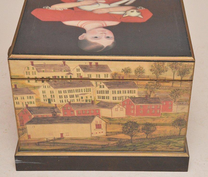 "Colonial painted motif box, 17""h x 20""w x 15 1/2""d - 5"