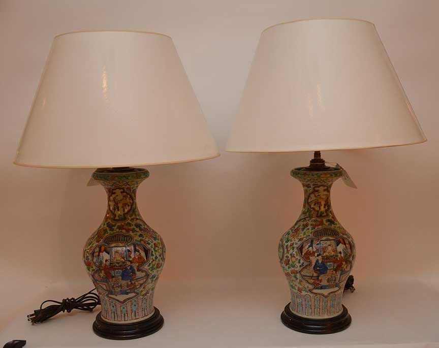 "Pair Chinese Famile antique lamps, 26""h"