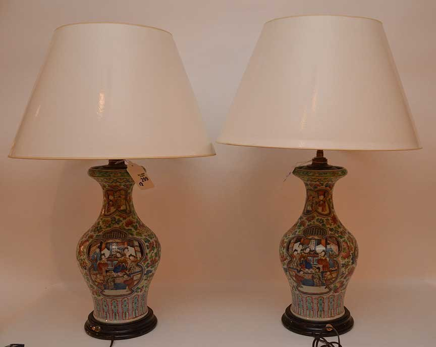 "Pair Chinese Famile antique lamps, 26""h - 5"