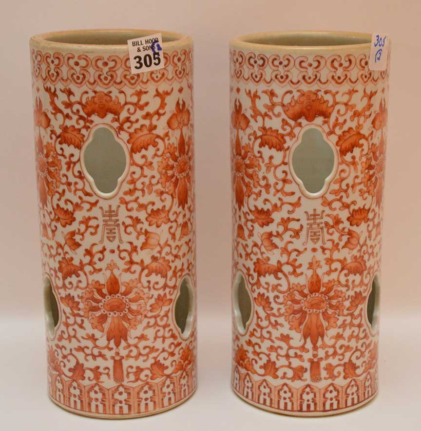 """Pair Chinese 19th c. hat stands, 11""""h"""
