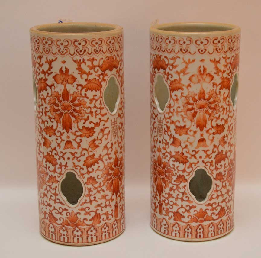 """Pair Chinese 19th c. hat stands, 11""""h - 4"""