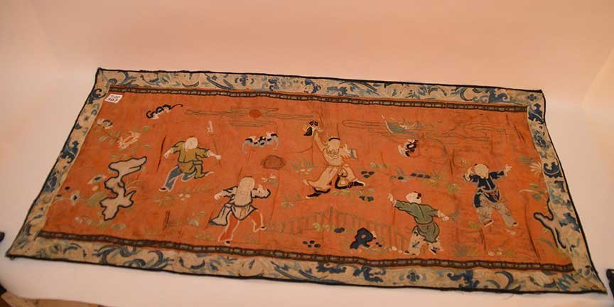 """Chinese antique embroidery, 24 1/2"""" x 16"""""""