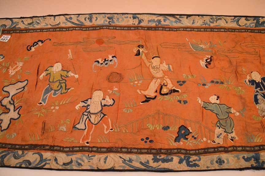 """Chinese antique embroidery, 24 1/2"""" x 16"""" - 2"""