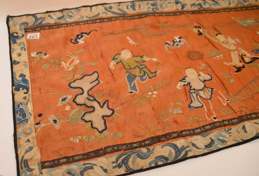 """Chinese antique embroidery, 24 1/2"""" x 16"""" - 3"""