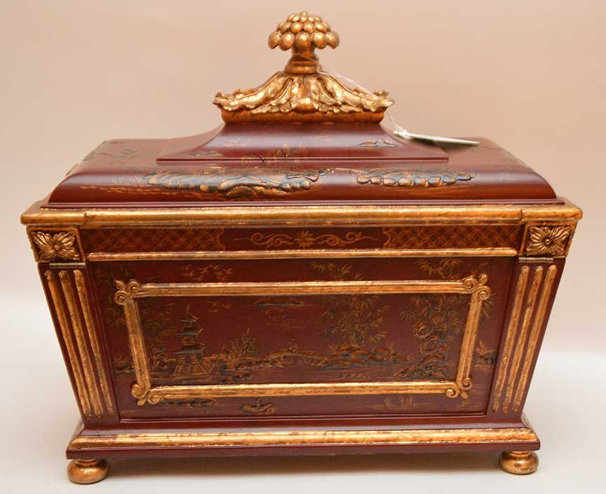 Chinese red and gilt chinoiserie rectangular footed box - 6