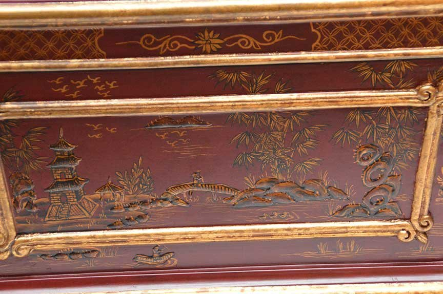 Chinese red and gilt chinoiserie rectangular footed box - 7