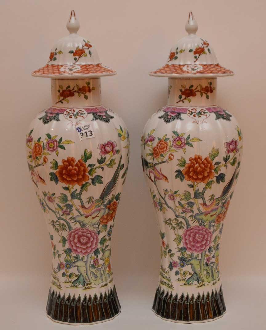 Pair of Chelsea House Italian porcelain vase, bird &
