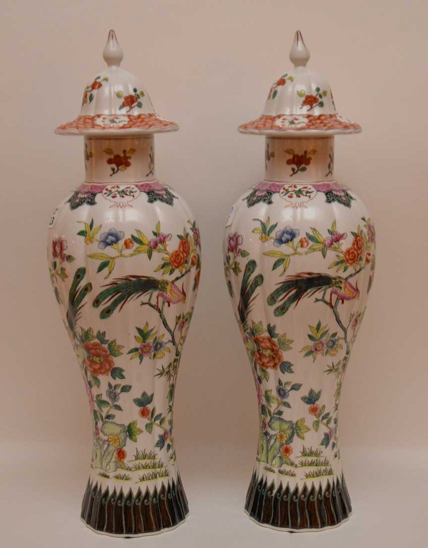 Pair of Chelsea House Italian porcelain vase, bird & - 3