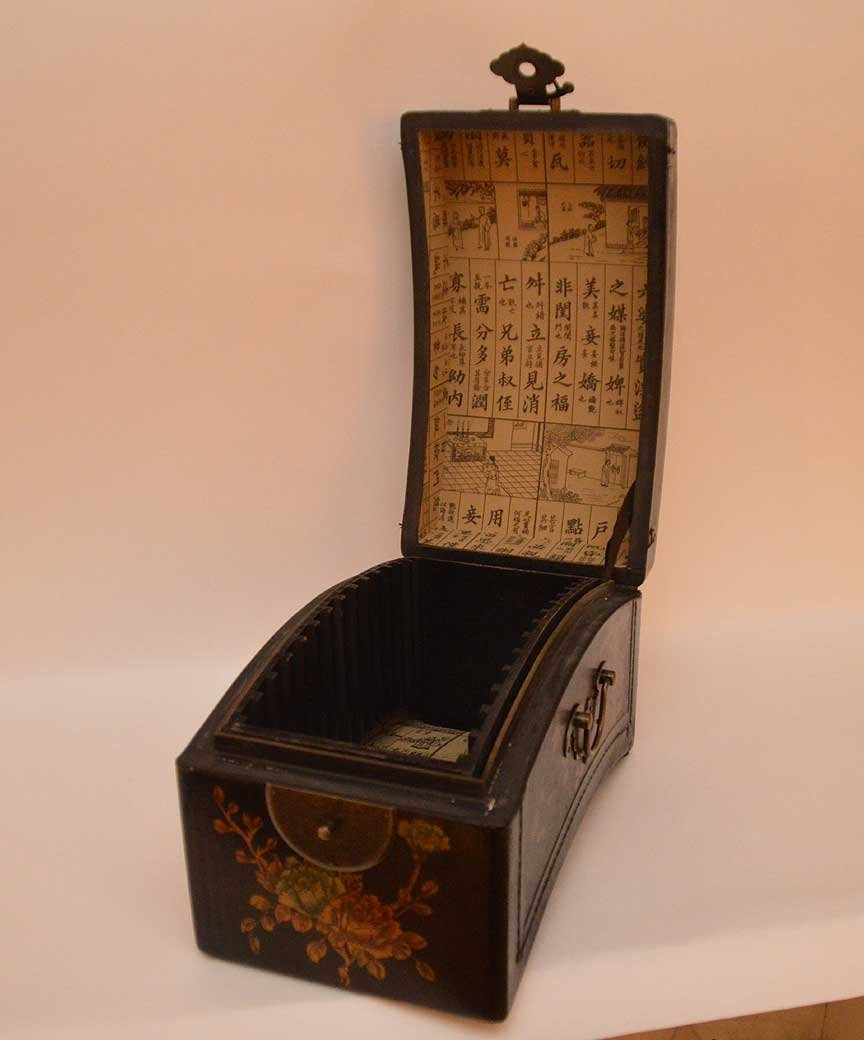 Black leather Chinese domed box with brass hardware, - 2
