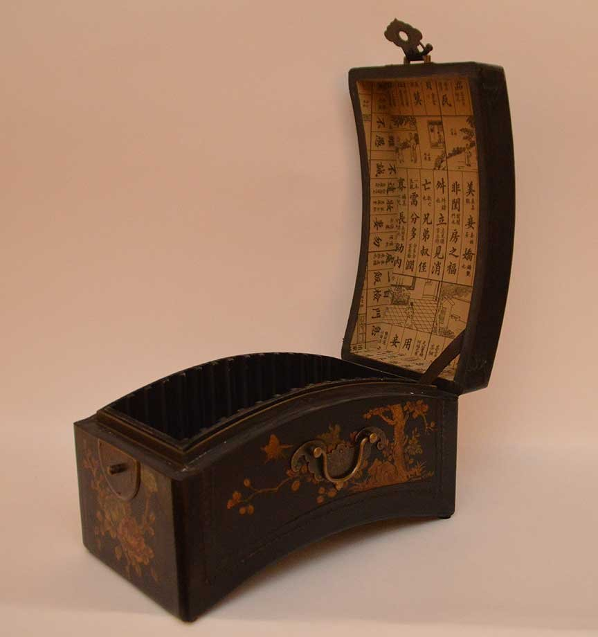 Black leather Chinese domed box with brass hardware, - 3