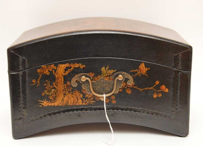 Black leather Chinese domed box with brass hardware, - 5