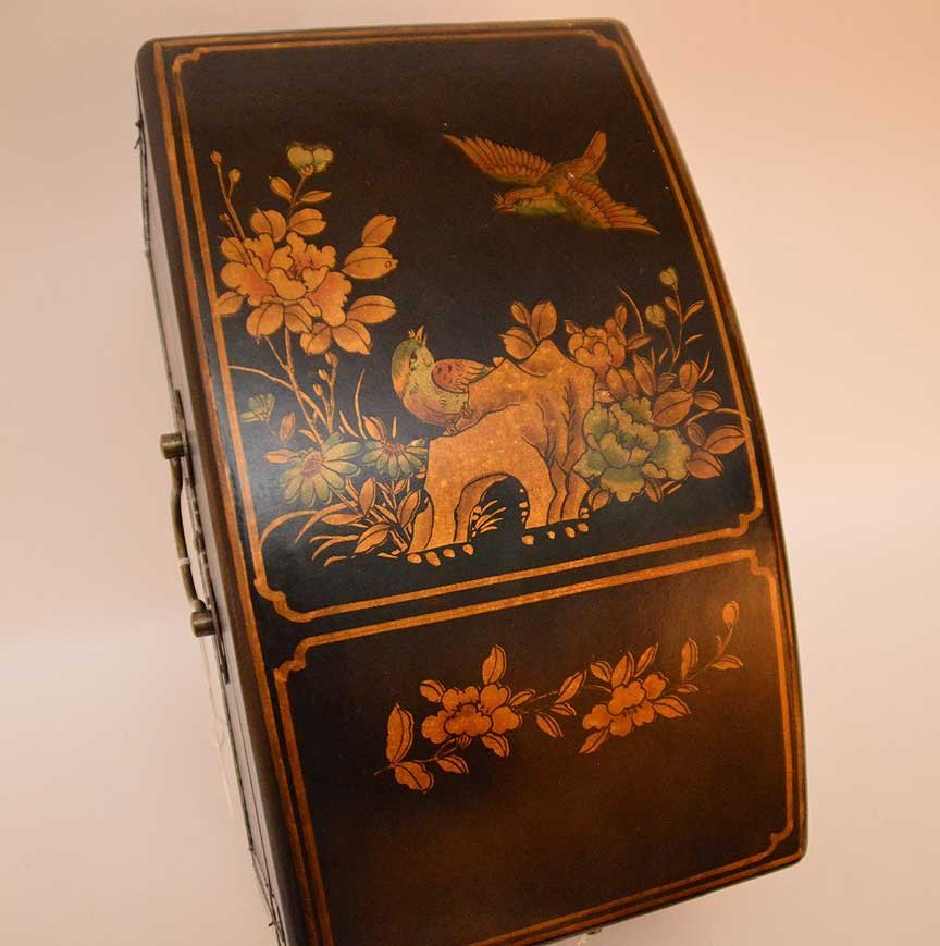 Black leather Chinese domed box with brass hardware, - 6