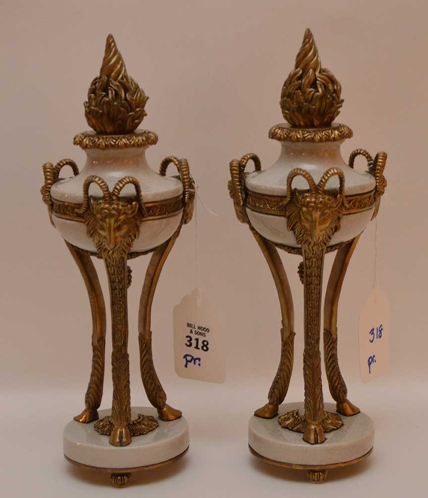 """Pair of brass and marble urns, 12 3/4""""h"""