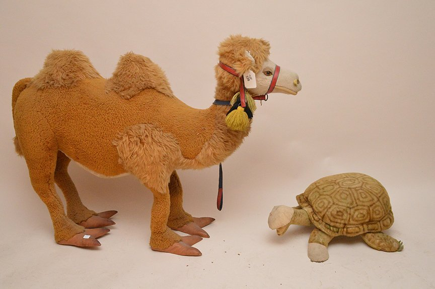 Vintage Standing stuffed animals, camel and turtle,