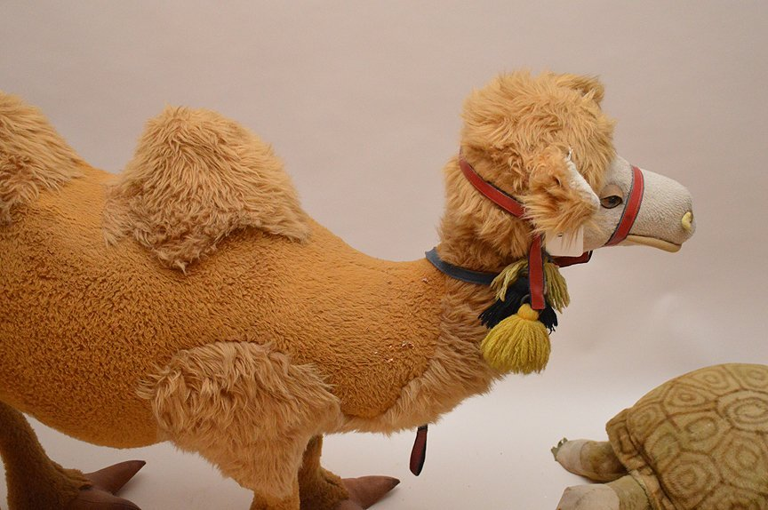 Vintage Standing stuffed animals, camel and turtle, - 2