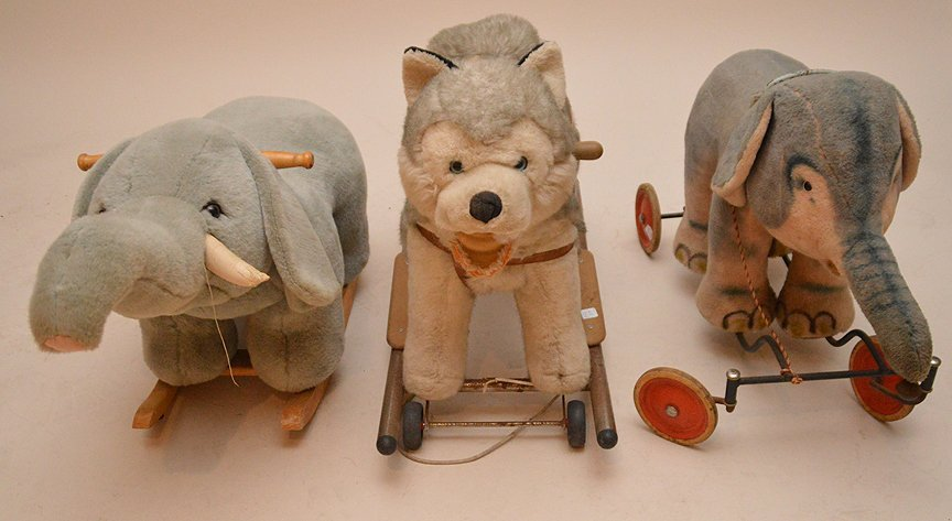 Vintage 3 riding stuffed animals, (1) Huskie, (2)