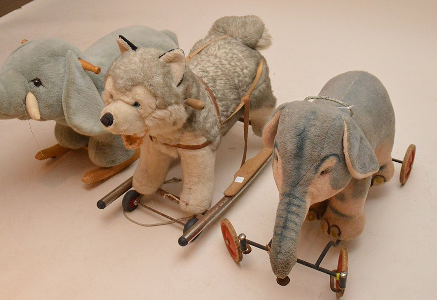 Vintage 3 riding stuffed animals, (1) Huskie, (2) - 2