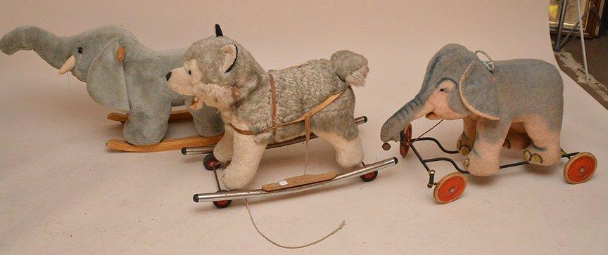 Vintage 3 riding stuffed animals, (1) Huskie, (2) - 3