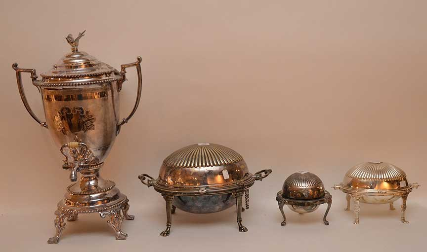 3 silver-plate serving pieces and silver-plate urn