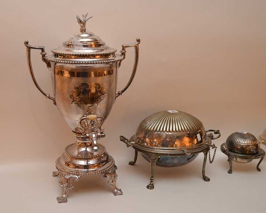 3 silver-plate serving pieces and silver-plate urn - 2