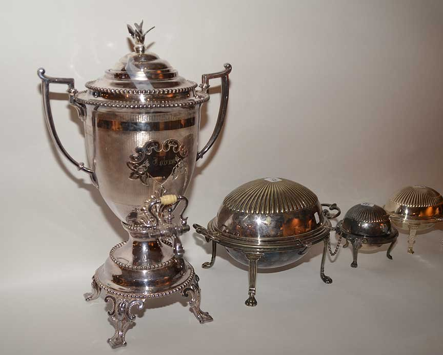 3 silver-plate serving pieces and silver-plate urn - 4