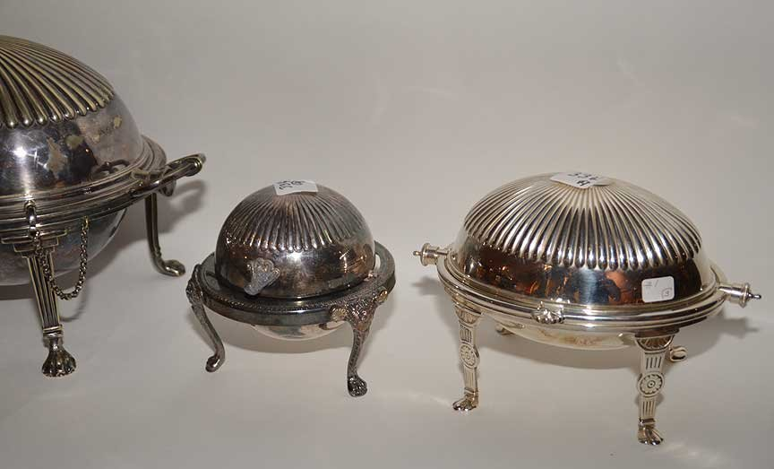 3 silver-plate serving pieces and silver-plate urn - 5