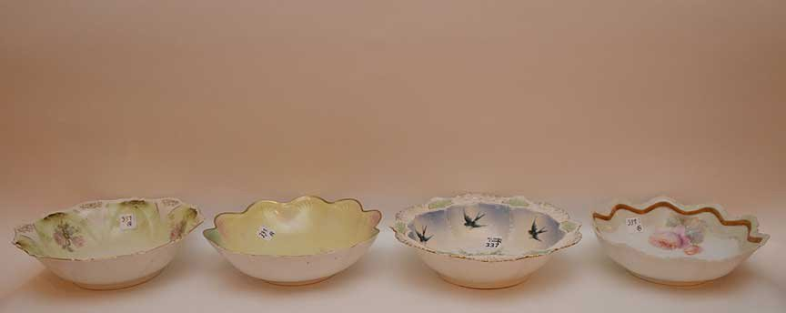 "4 R.S. Prussia bowls, all approx. 3""h x 10""dia"