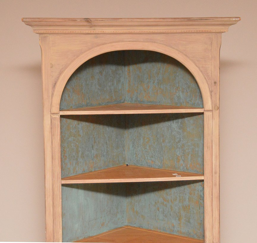 Light finished wood corner cabinet with 3 open shelves - 2