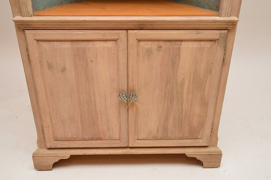 Light finished wood corner cabinet with 3 open shelves - 3