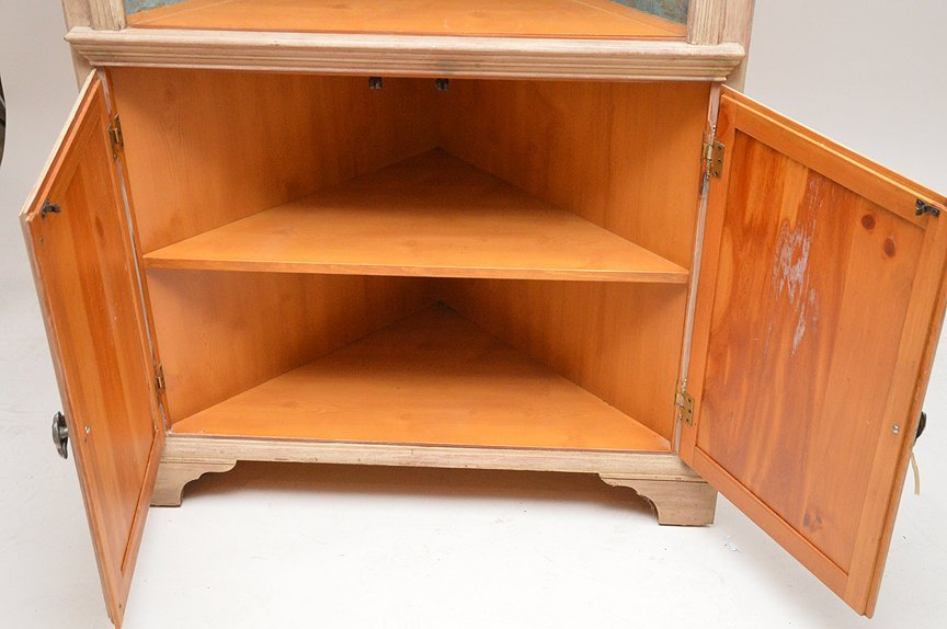 Light finished wood corner cabinet with 3 open shelves - 4