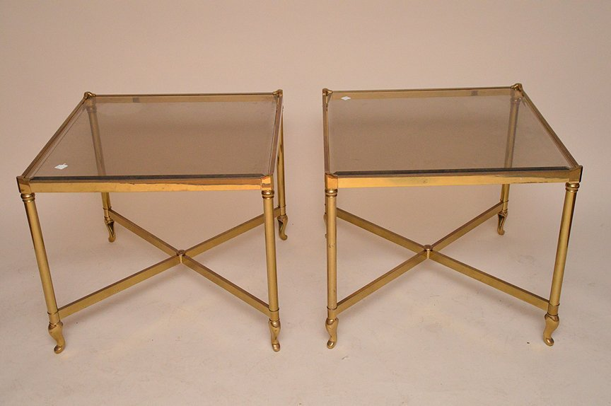 """Pair brass square end tables, 23"""" x 26"""""""