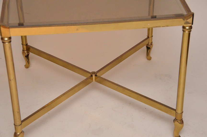 """Pair brass square end tables, 23"""" x 26"""" - 2"""