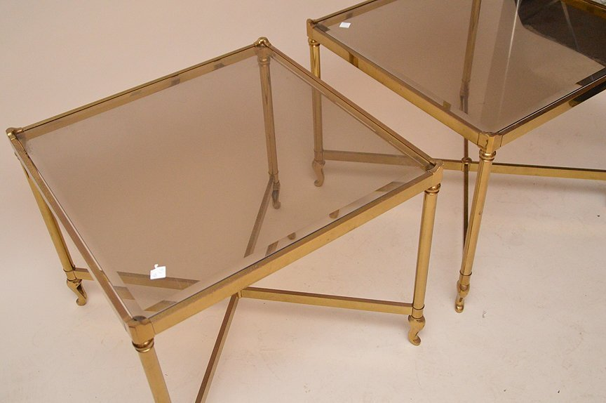 """Pair brass square end tables, 23"""" x 26"""" - 3"""