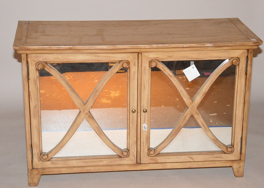 """Light wood cabinet with mirrored doors, 34""""h x 54""""w x"""