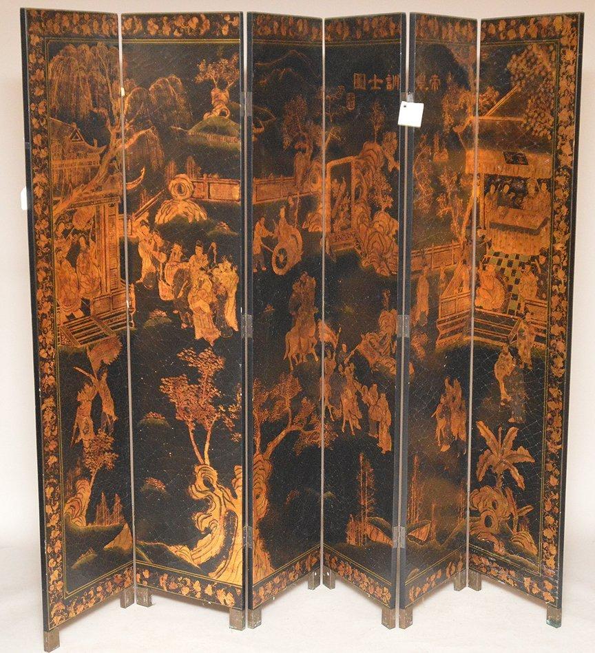 "Black & Gold 6 panel Coromandel screen, 7'h x 18""w"