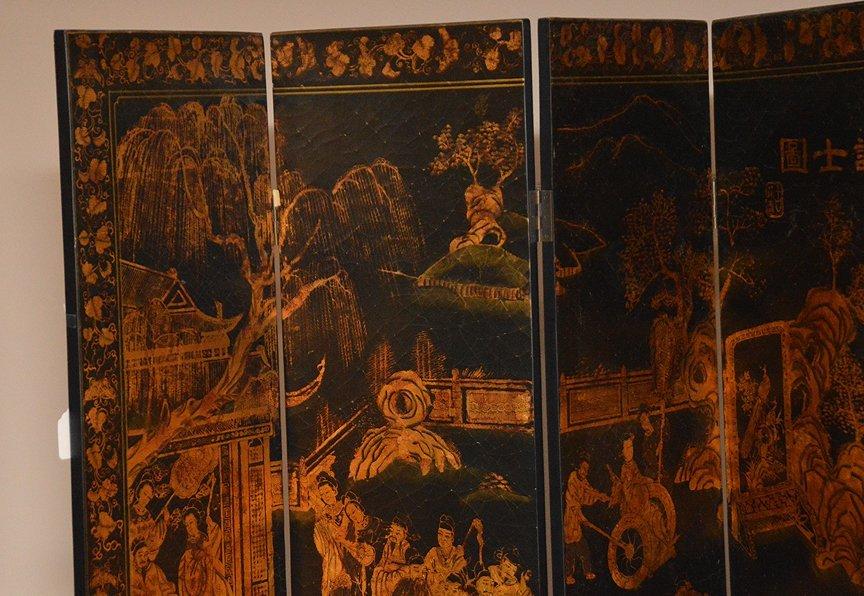 "Black & Gold 6 panel Coromandel screen, 7'h x 18""w - 2"