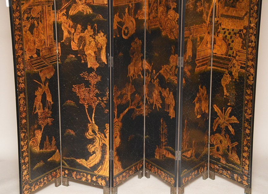 "Black & Gold 6 panel Coromandel screen, 7'h x 18""w - 3"