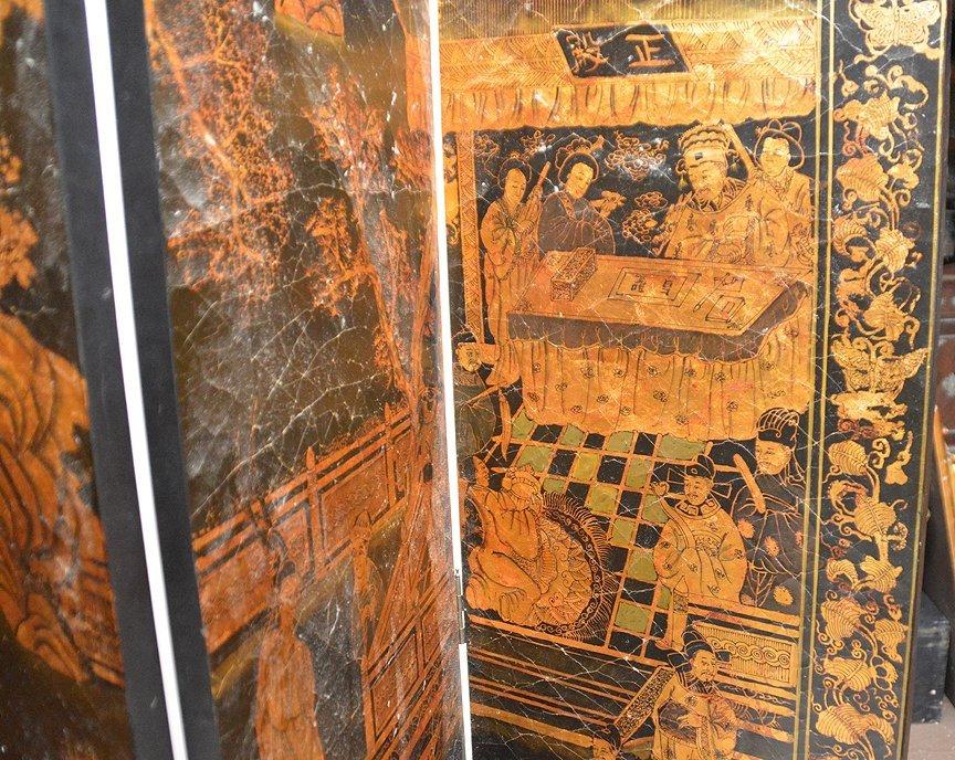 "Black & Gold 6 panel Coromandel screen, 7'h x 18""w - 6"
