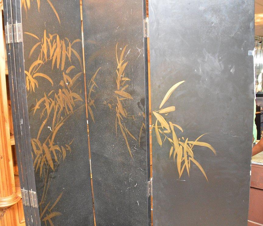 "Black & Gold 6 panel Coromandel screen, 7'h x 18""w - 8"