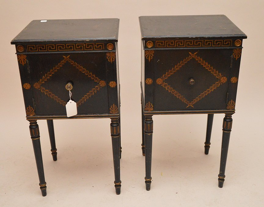 "Pair ebonized end tables with gilt decoration, 30""h x"