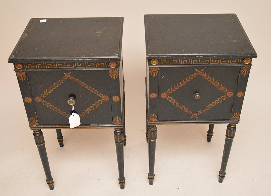 "Pair ebonized end tables with gilt decoration, 30""h x - 2"