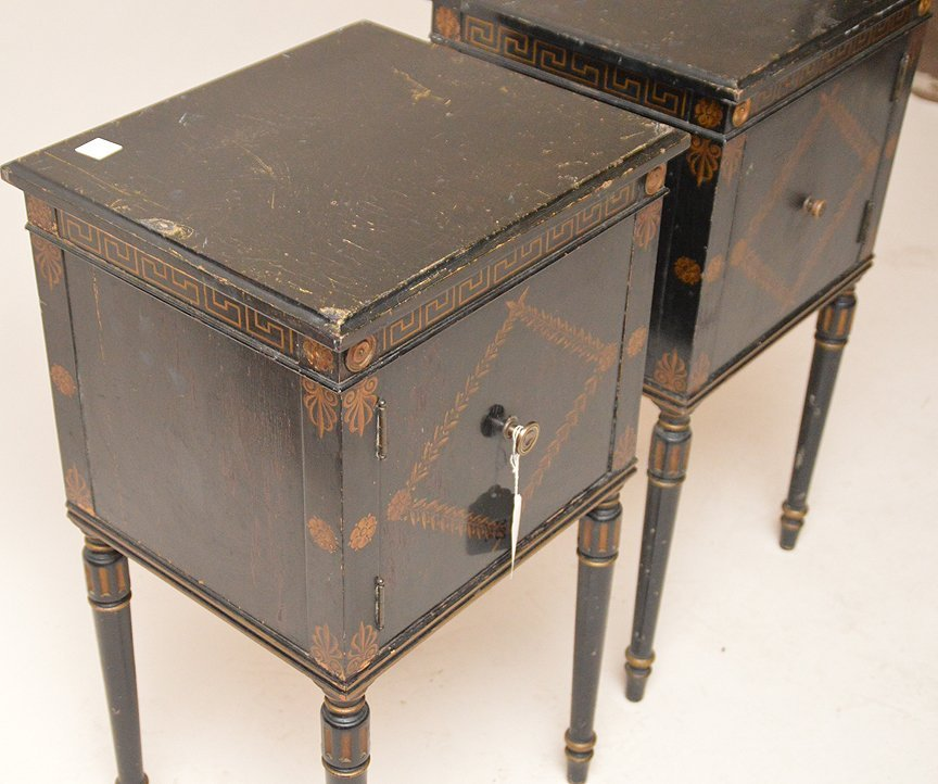 "Pair ebonized end tables with gilt decoration, 30""h x - 3"