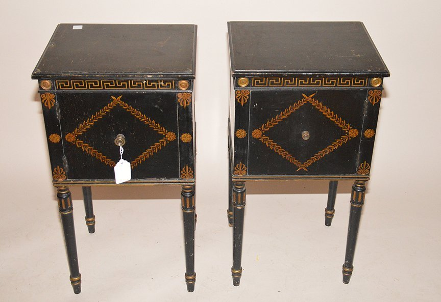 "Pair ebonized end tables with gilt decoration, 30""h x - 4"
