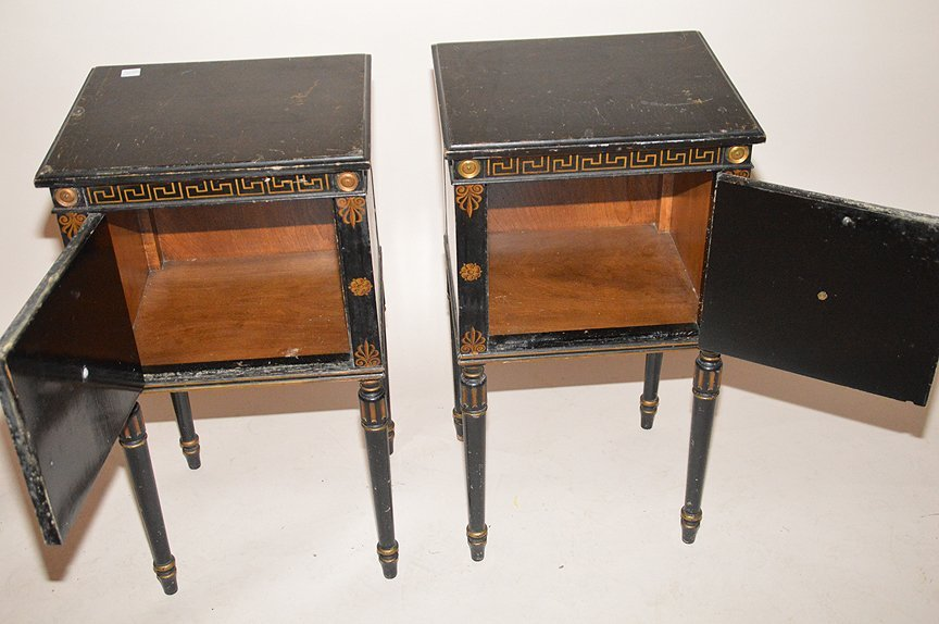 "Pair ebonized end tables with gilt decoration, 30""h x - 5"
