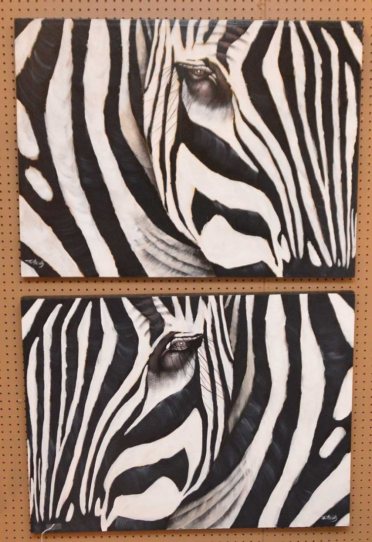 Pair of Modern Zebra Paintings by R. Atkins? Oil on