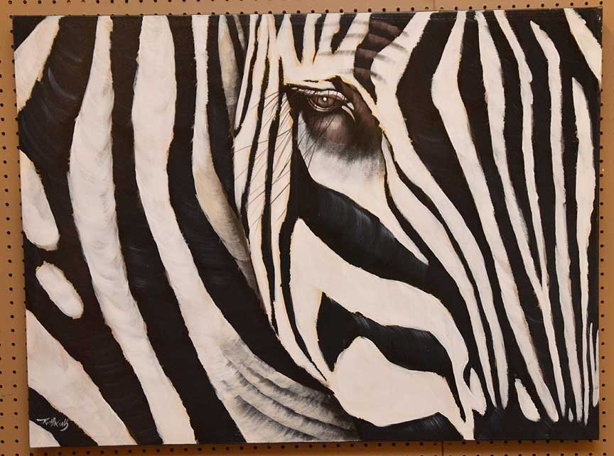 Pair of Modern Zebra Paintings by R. Atkins? Oil on - 2
