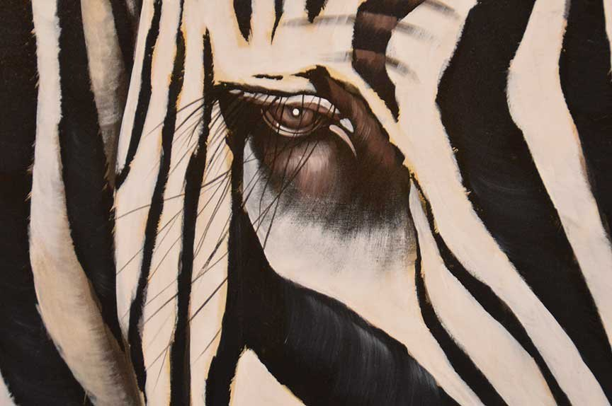 Pair of Modern Zebra Paintings by R. Atkins? Oil on - 3