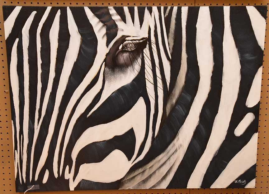 Pair of Modern Zebra Paintings by R. Atkins? Oil on - 5